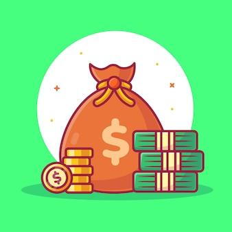 Денежный мешок и монеты изолированных иллюстрация финансы логотип вектор значок иллюстрации в плоском стиле