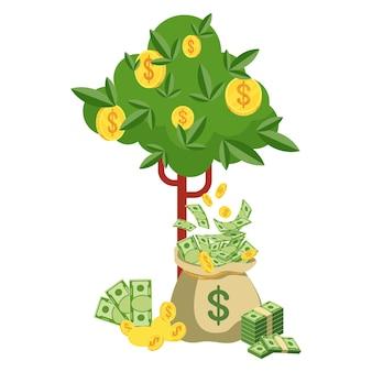 지폐와 돈 가방과 돈 나무입니다. 부, 성공 및 행운의 상징입니다. 은행 및 금융. 평면 벡터 만화 일러스트 레이 션. 흰색 배경에 고립 된 개체입니다.