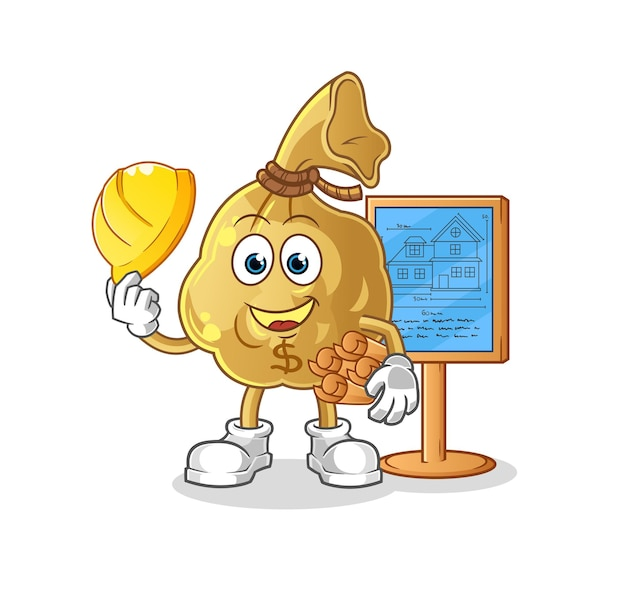 The money bag architect character mascot