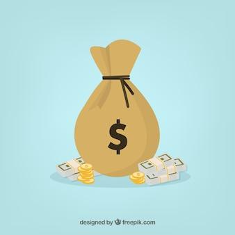 お金の袋の背景と紙幣