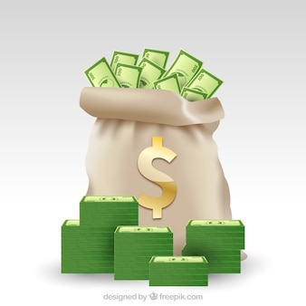 Money bag background with green banknotes