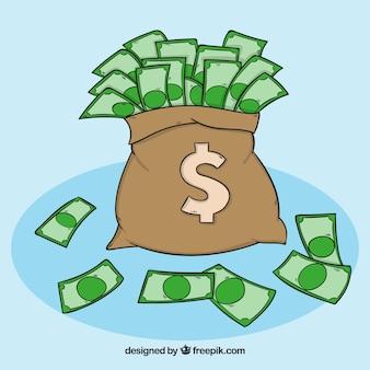 Money bag background with hand drawn bills