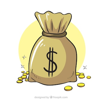 Money bag background with shiny coins