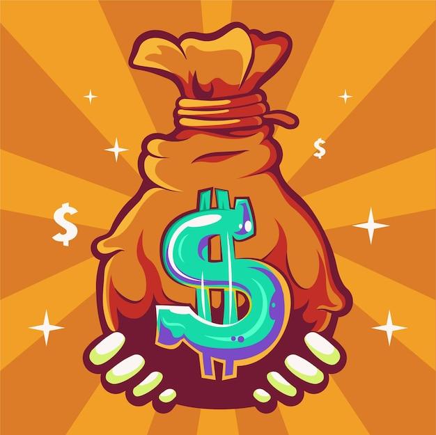Money bag cartoon illustration premium vector