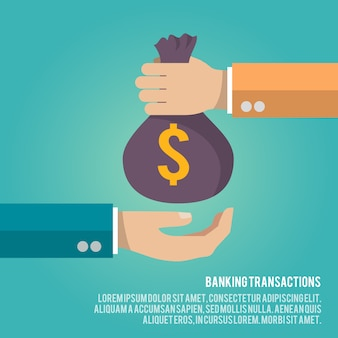 Money bag giving illustration with text template. banking transactions concept