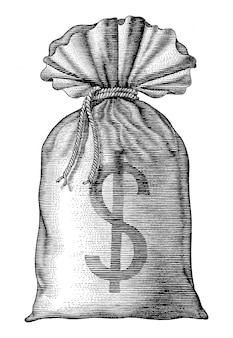 Money bag hand draw vintage engraving isolated on white background