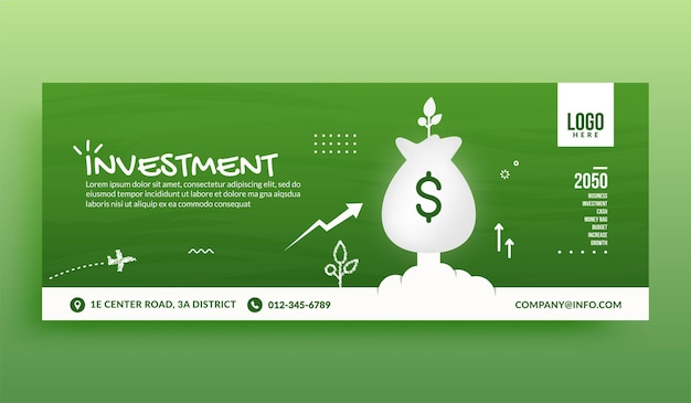 Money bag launching to space social media cover banner template, business investment