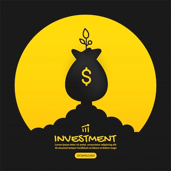 Money bag launching on yellow background, business investment concept