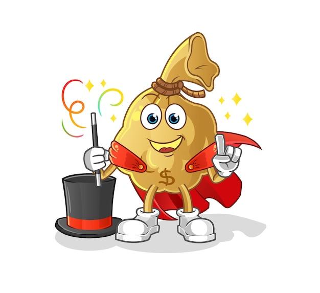 The money bag magician illustration. cartoon mascot mascot