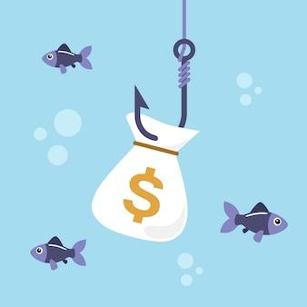 釣りフックにお金の袋