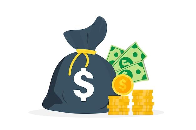Денежный мешок, на котором знак доллара. банкноты долларов. наличные деньги, куча монет. мешок денег, куча денег, пачки долларов.
