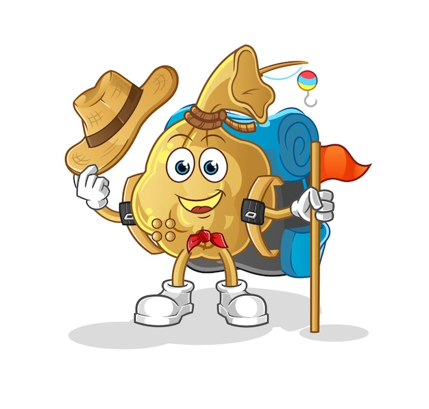 The money bag scout character mascot