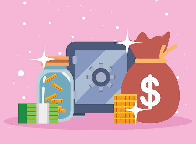 Денежный мешок, денежный ящик, банка для монет и банкнот