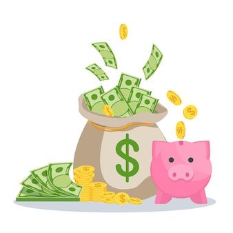 지폐와 돼지 저금통이 있는 돈 가방. 부, 성공 및 행운의 상징입니다. 은행 및 금융. 평면 벡터 만화 일러스트 레이 션. 흰색 배경에 고립 된 개체입니다.