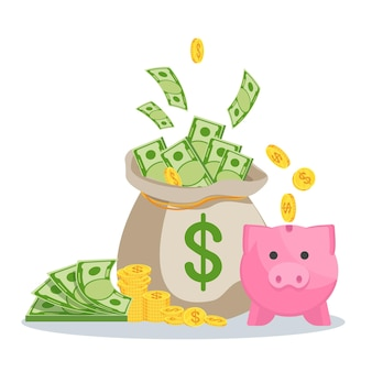 Money bag with banknotes and piggy bank. symbol of wealth, success and good luck. bank and finance. flat vector cartoon illustration. objects isolated on a white background.