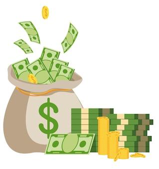 지폐와 돈 가방입니다. 부, 성공 및 행운의 상징입니다. 은행 및 금융. 평면 벡터 만화 일러스트 레이 션. 흰색 배경에 고립 된 개체입니다.