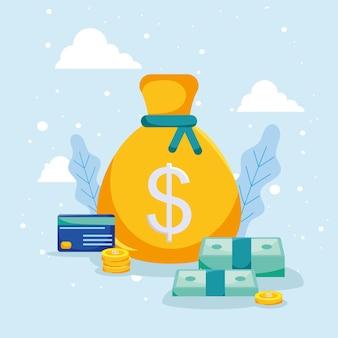 지폐와 동전이 든 돈 가방
