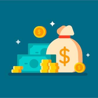 Денежный мешок с наличными деньгами и монетами
