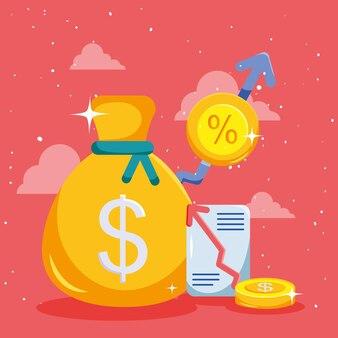 동전과 증가 화살표가 있는 돈 가방