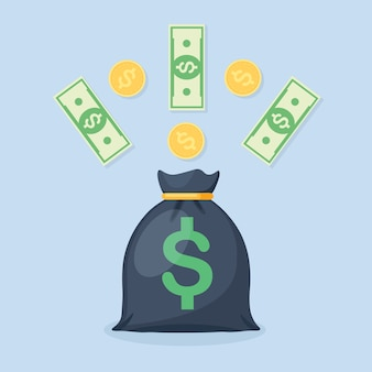 달러 기호 및 통화, 동전 돈 가방