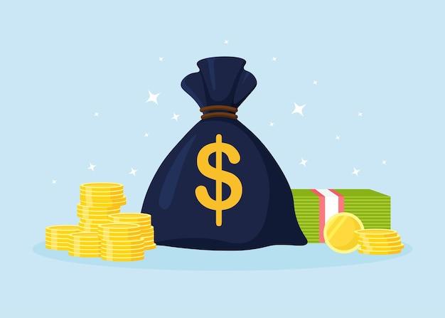 달러 기호와 돈, 금화 더미가 있는 돈 가방. 수입 이익, 저축, 부의 아이디어