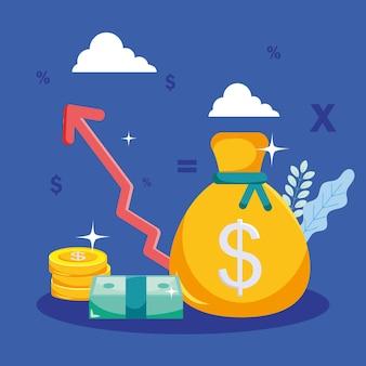 증가 화살표가 있는 돈 가방