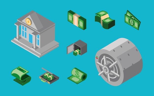 Money banking safe box banknotes isometric