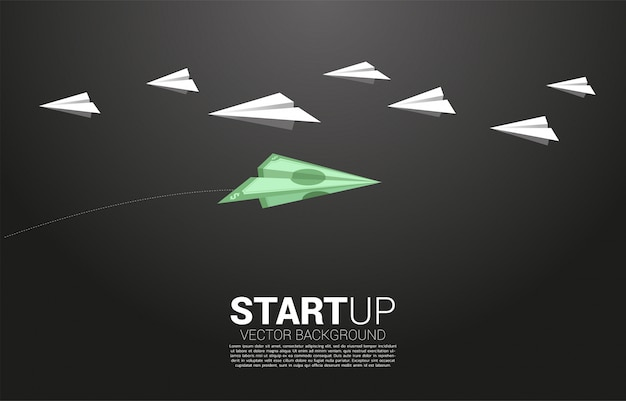 Money banknote origami paper airplane go different way from group of white. business concept of investor and venture capital.
