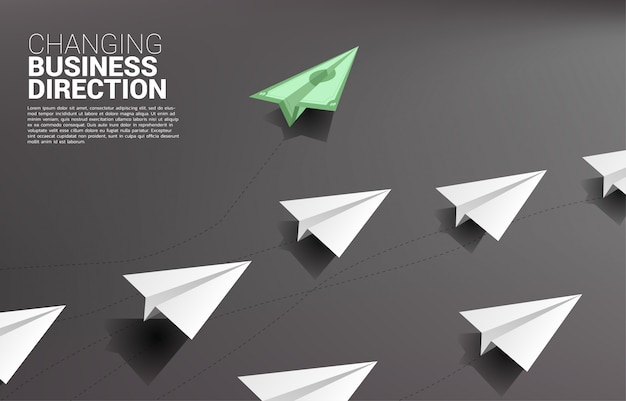 Money banknote origami paper airplane going out from group of white. business concept of disruption and vision mission.