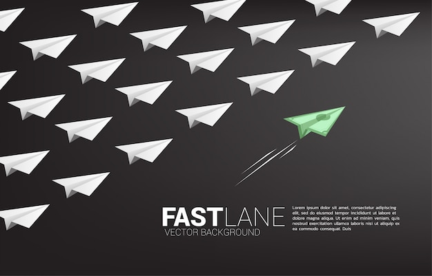 Money banknote origami paper airplane is move faster than group of white. business concept of fast lane for moving and marketing