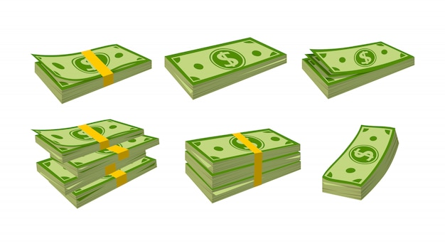 Деньги банкноты мультфильм набор. упаковка в пачки банкнот. зеленый доллар в разных пачках