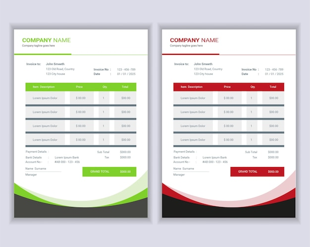 Money bills or price invoices template