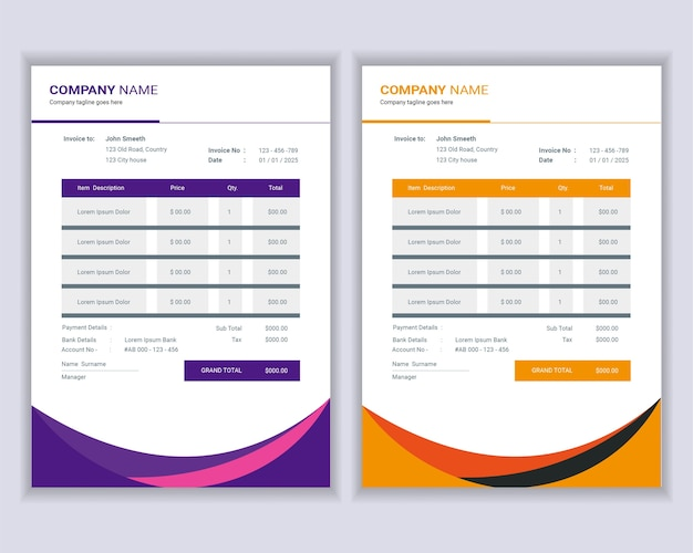 Money bills or price invoices template .
