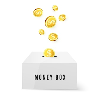 Money box and golden coins