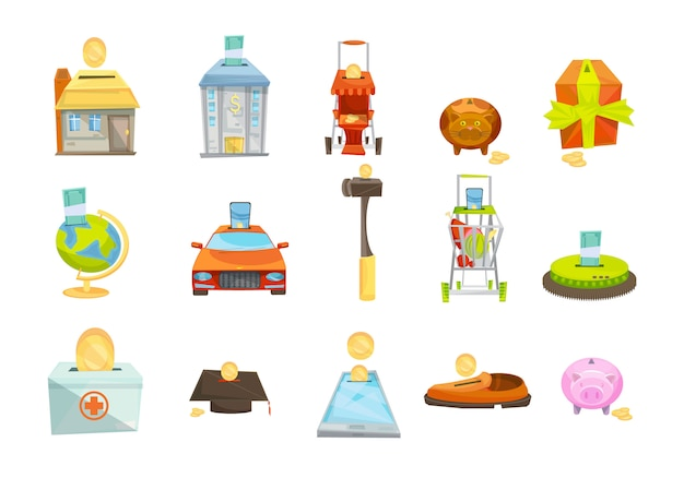 Money box isolated icons set