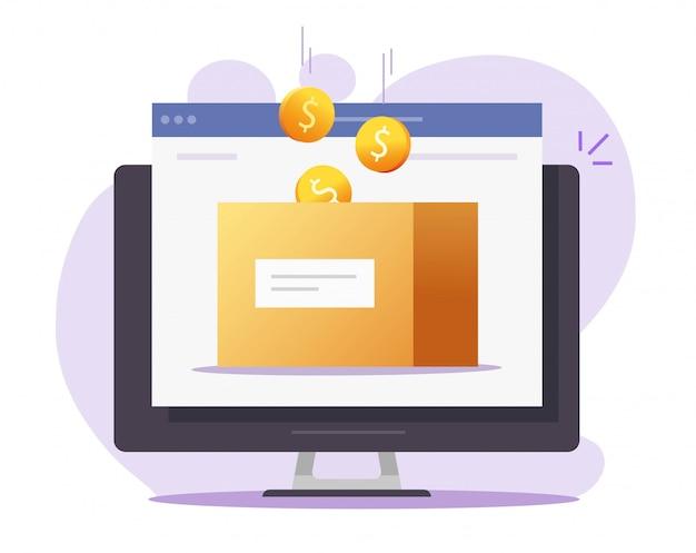 컴퓨터에 자선 기부 또는 저축 웹 사이트로 돈 상자 온라인 벡터