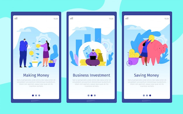 Money business cartoon people,  web mobile set  illustration. success commerce coin concept , finance investment page. payment landing page at phone, banking financial capital.
