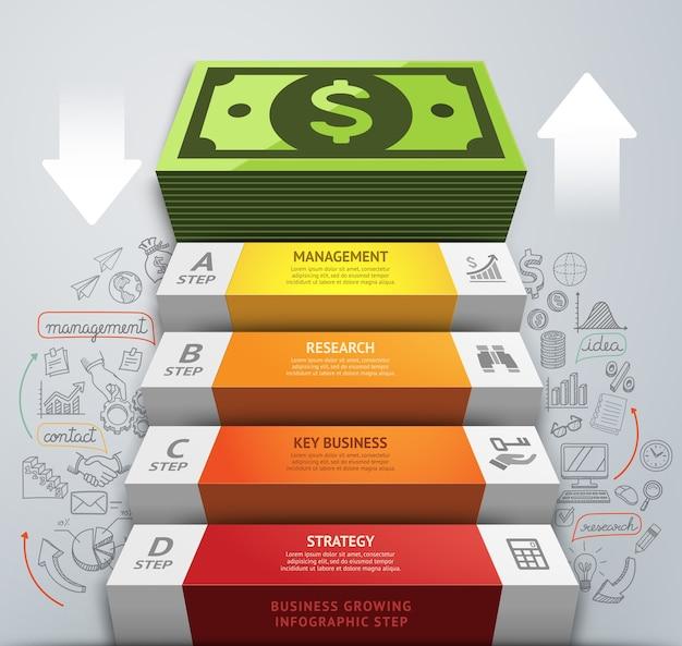 お金のビジネス階段の概念的なインフォグラフィック。 。