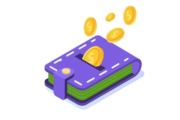 お金のキャッシュバックの概念。コインと財布。等角図。