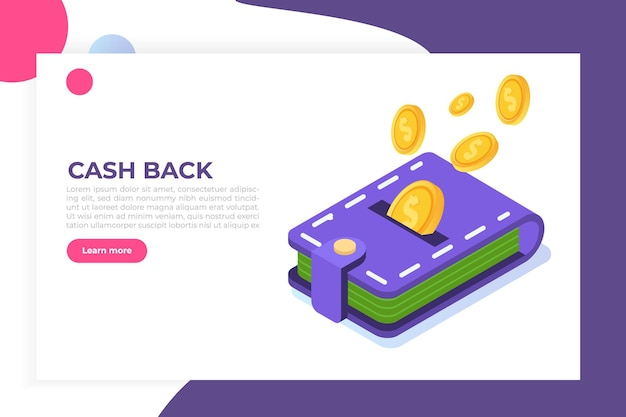 Money cash back concept. coins and wallet. isometric  illustration.