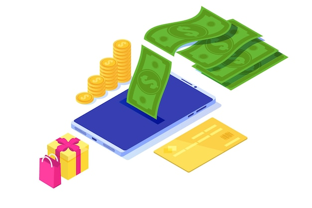 Money cash back concept.  isometric  illustration.