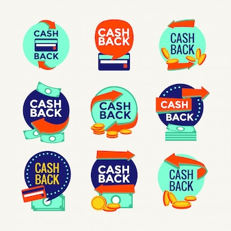 Money cash back labels and stickers