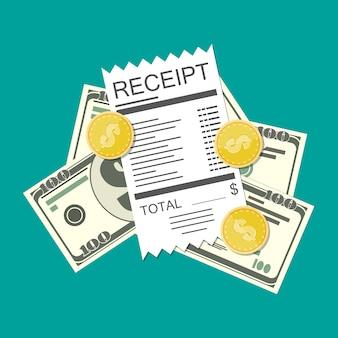 Money cash and receipt bill