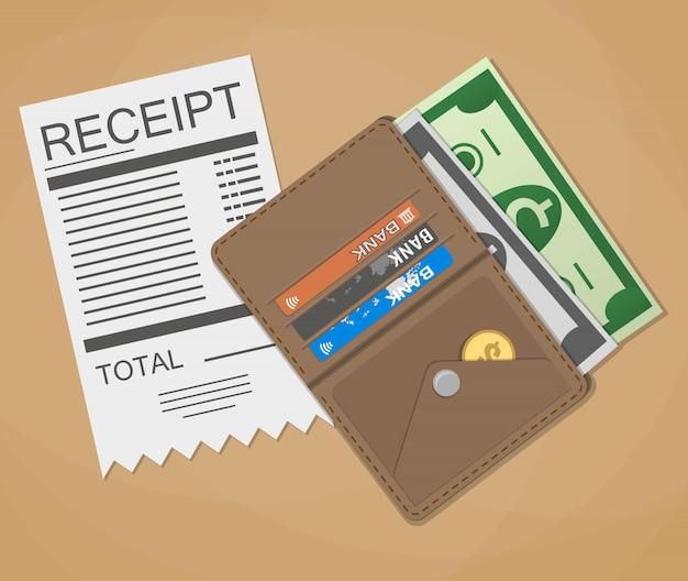 Money cash and receipt