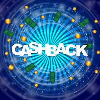 Money cashback poster with gold dollar coins