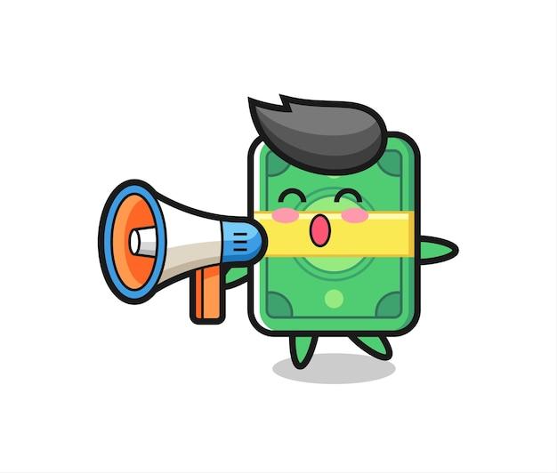 Money character illustration holding a megaphone , cute style design for t shirt, sticker, logo element