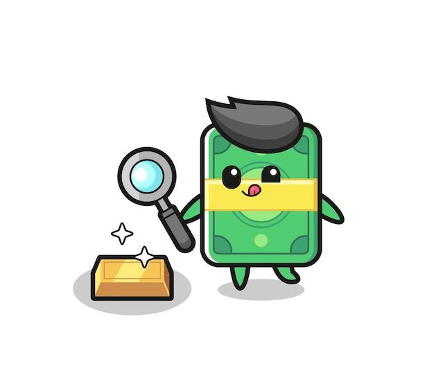 Денежный персонаж проверяет подлинность золотого слитка, симпатичный дизайн футболки, наклейки, элемента логотипа