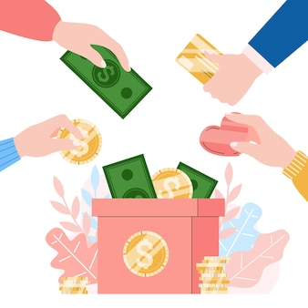 Money charity and donation illustration