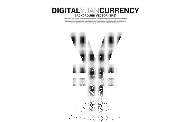 お金ピクセル変換からの中国人民元と日本円の通貨アイコン。デジタル人民元通貨のコンセプト。
