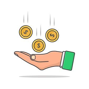 손에 떨어지는 돈 동전.